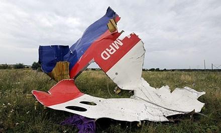 Một mảnh vỡ của chiếc máy bay MH17 bị bắn rơi ở đông Ukraine. Ảnh: AFP.