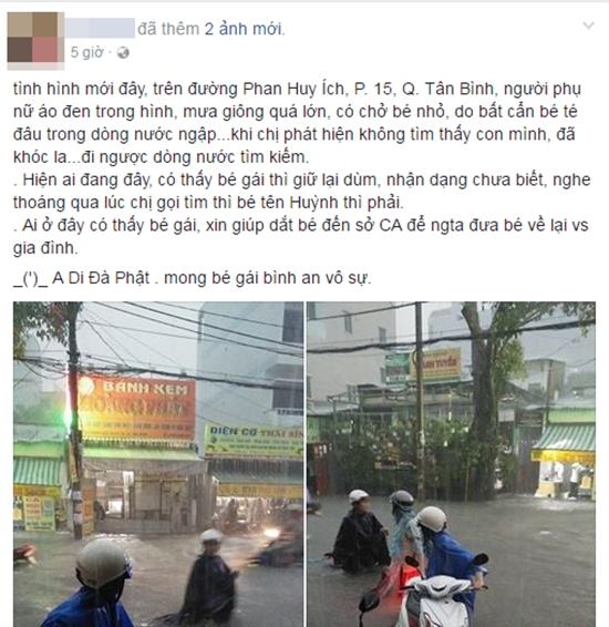 Người mẹ hớt hải lội nước ngập tìm con bị thất lạc trong trận mưa kinh hoàng ở Sài Gòn - Ảnh 1.