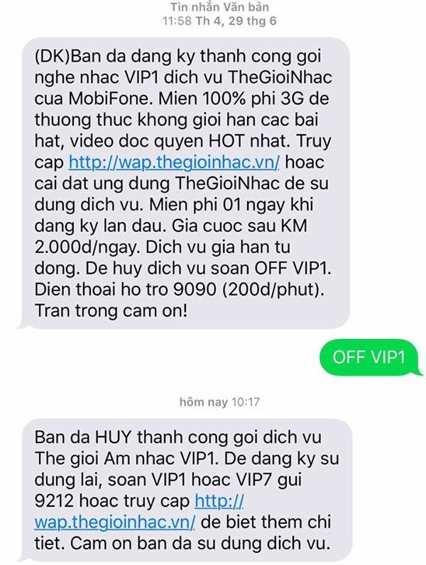 Một khách hàng của Mobifone sau gần 3 tháng mới phát hiện ra bị cài dịch vụ không mong muốn và từ chối sử dụng