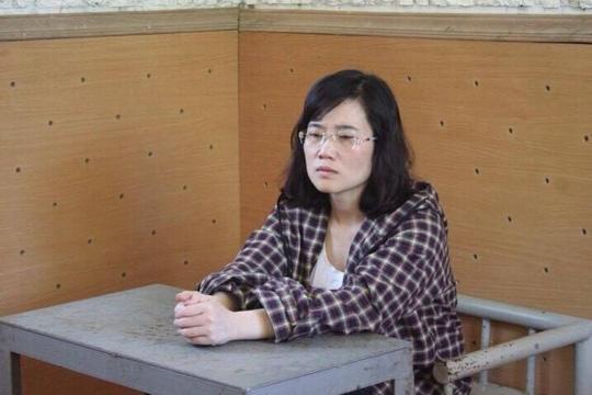 Nguyễn Thị Lam tại cơ quan công an - Ảnh: Công an cung cấp