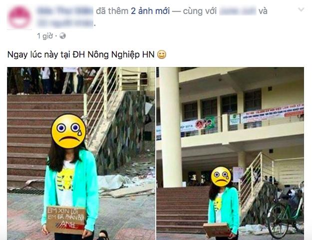 Hình ảnh hot nhất ngày: Cô gái quỳ giữa sân trường, ôm tấm biển Em xin lỗi, em đã phản bội anh - Ảnh 2.