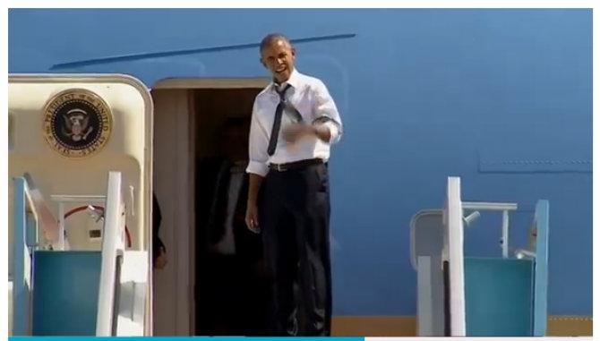 Xem ông Obama sốt ruột giục ông Clinton lên máy bay - ảnh 1