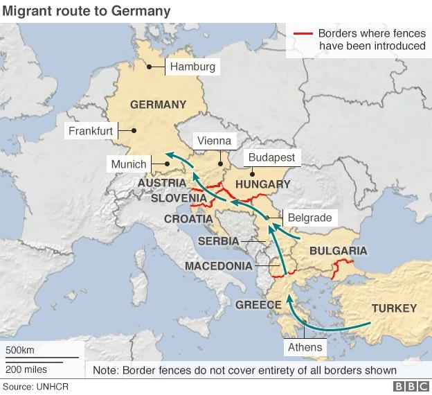Lộ trình bất hợp pháp của người di cư tới châu Âu (Đồ họa: BBC)