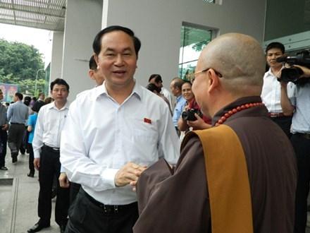Chủ tịch nước Trần Đại Quang tiếp xúc cử tri TPHCM sáng nay, 4/10.