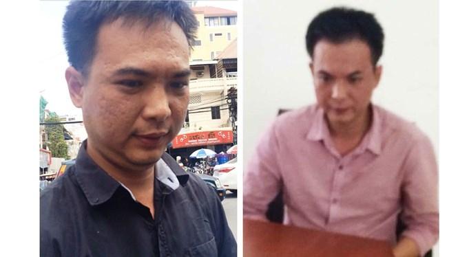 Ngân lúc ở Campuchia (trái) và sau khi sa lưới công an /// Ảnh: CTV