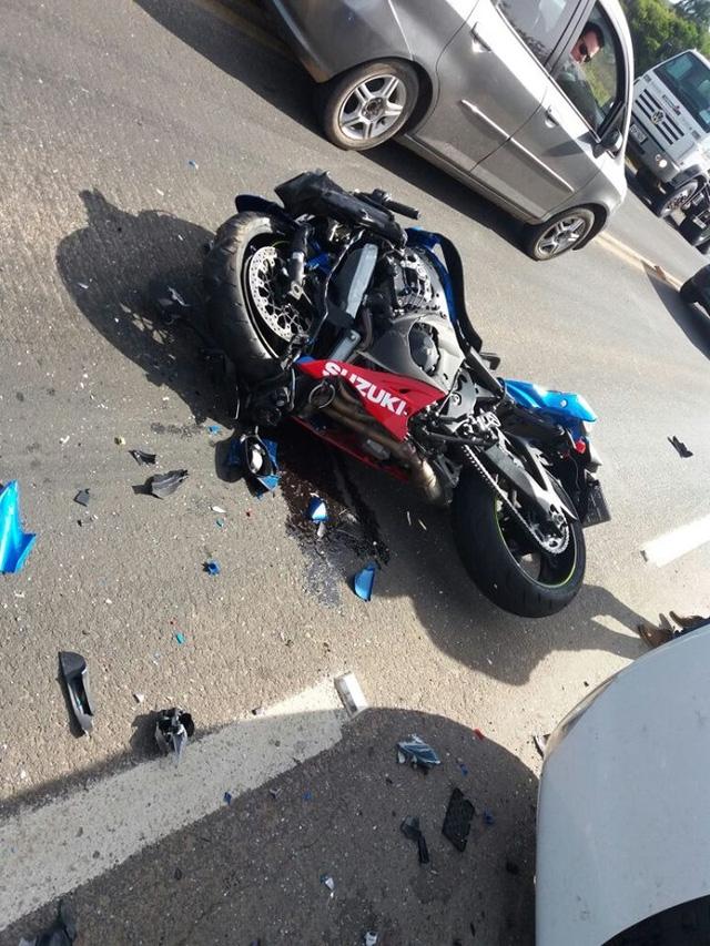 Chiếc mô tô Suzuki được cho gây ra vụ tai nạn kinh hoàng.