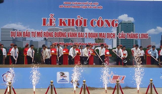 Hà Nội chin thức khởi công tuyến đường Vành đai 3 đoạn Mai Dịch - cầu Thăng Long