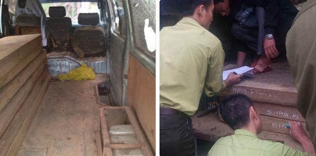 Lực lượng kiểm lâm phát hiện bên trong xe chứa 6 hộp gỗ bời lời (loại gỗ thuộc nhóm IV), có tổng khối lượng 0,516m3