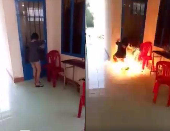 Hùa theo phong trào nói là làm, nữ sinh cấp 2 tẩm xăng đốt trường học - Ảnh 2.