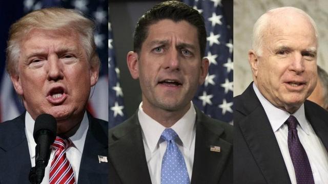 Từ trái qua phải: ông Donald Trump, ông Paul Ryan và ông John McCain (Ảnh: Sandiegouniontribune)