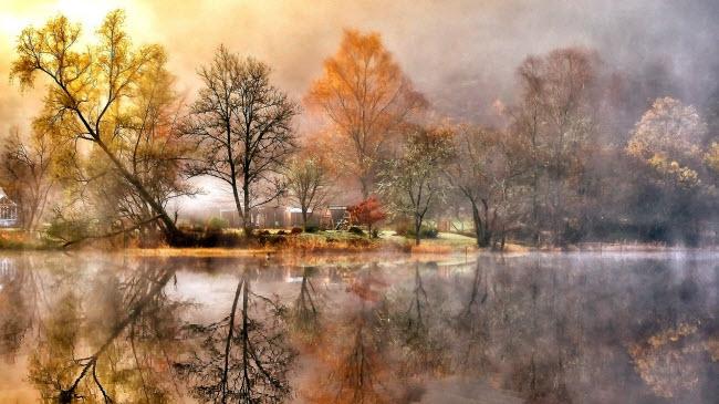 Sương sớm kết hợp với lá cây nhiều sắc màu và mặt hồ phẳng lặng tạo nên khung cảnh huyền ảo tại hồ Loch Ard, Scotland.