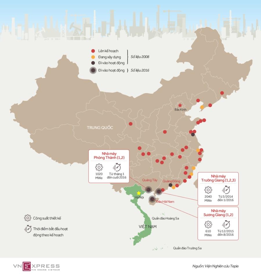 Vị trí ba nhà máy điện hạt nhân Trung Quốc gần Việt Nam