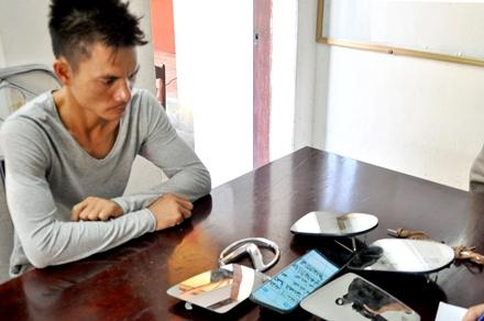 Mai Văn Thanh bị bắt giữ cùng tang vật tại cơ quan điều tra.