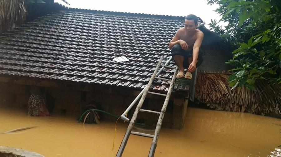 xả lũ, thủy điện hố hô xả lũ, hà tĩnh, leo nóc nhà tránh lũ