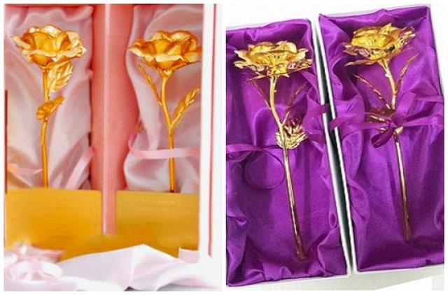 Hoa hồng mạ nhũ vàng được làm tinh sảo rất sang trọng hút khách trước thềm ngày lễ 20/10 năm nay