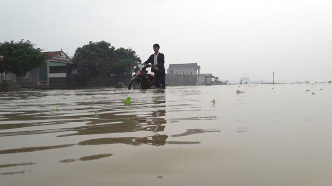 Nhiều đoạn quốc lộ 7 bị ngập sâu trên 0,5 m /// Ảnh Phan Ngọc