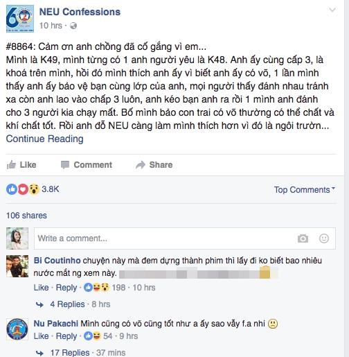 Câu chuyện được chia sẻ trên NEU Confession thu hút nhiều lượt chia sẻ và bình luận.