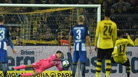 Quả đá của Aubameyang ở trận hòa Hertha bị thủ môn dễ dàng cản phá