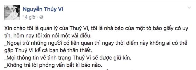 Sau tin đồn tự tử, Facebook của Thúy Vi đã cập nhật dòng trạng thái đầu tiên - Ảnh 1.