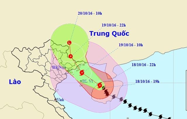 Vị trí và hướng di chuyển của bão số 7 (Ảnh: NCHMF).