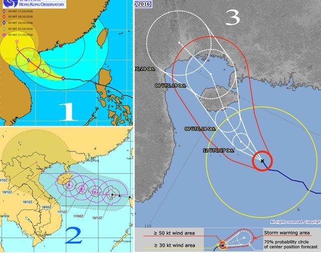 1- Trung tâm cảnh báo bão của Hồng Kông, 2- Trung tâm cảnh báo bão của Hoa Kỳ, 3 - Trung tâm cảnh báo bão của Nhật Bản.