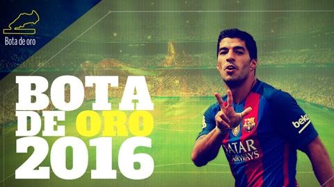 Hôm nay, Suarez nhận Chiếc giày vàng 2015/16