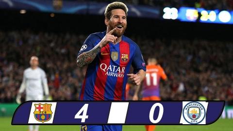 Messi lập hat-trick, Barca nhấn chìm Man City tại Nou Camp