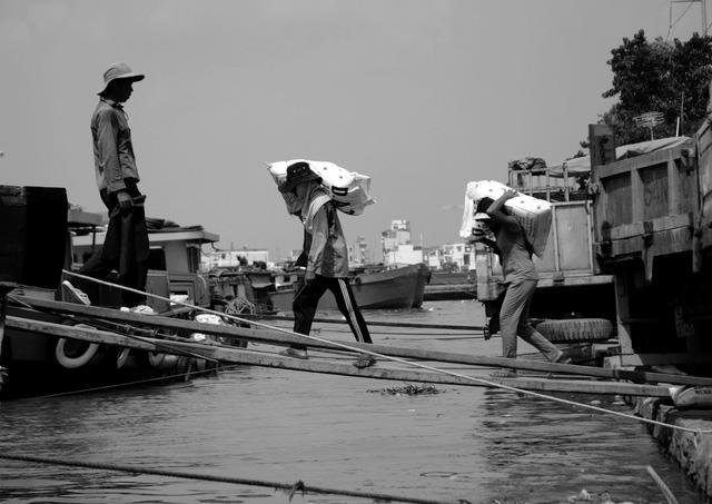 Vì cuộc sống gia đình, gánh lo cơm áo gạo tiền mà những phụ nữ chân yếu tay mềm chấp nhận kiếm tiền bằng công việc cõng phân đạm trên kênh Tẻ, quận 7, TPHCM.