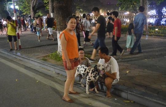 Người dân đem chó không rọ mõm vào phố đi bộ khiến du khách cảm thấy bất an (Ảnh: Người lao động)
