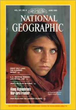 Cô bé Sharbat Gula trên bìa tạp chí National Geographic năm 1985. Ảnh: Wikipedia