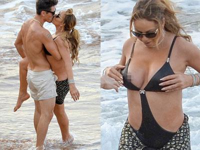 Mariah Carey ôm hôn trai trẻ cuồng nhiệt vô tình để lộ vòng một
