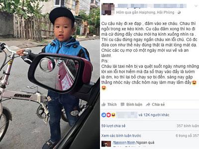 Cháu bé Hải Phòng gây sốt vì đứng lại xin lỗi khi quẹt trúng taxi