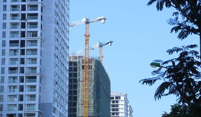Cẩu tháp đang phục vụ cho một số công trình xây dựng dọc tuyến đường Lê Văn Lương.