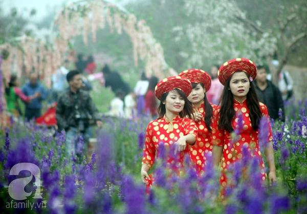 Hà Nội: Bất chấp trời lạnh và mưa, hàng nghìn người đổ về làng hoa Nhật Tân chụp ảnh - Ảnh 12.