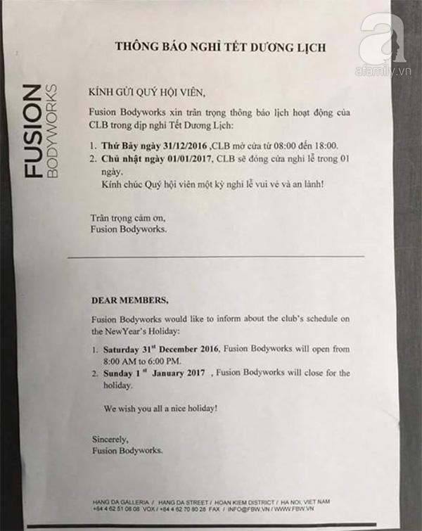 Hà Nội: Phòng tập Fusion Bodyworks đột ngột đóng cửa sửa chữa, hơn 600 học viên bức xúc ký đơn phản ánh - Ảnh 1.