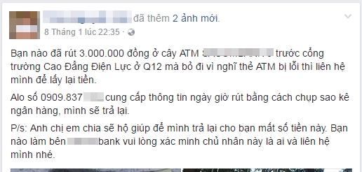 Dân mạng dè bỉu người đàn ông nhặt 3 triệu đồng ở bốt ATM tìm người trả lại, 2 ngày sau, sự thật mới sáng - Ảnh 1.