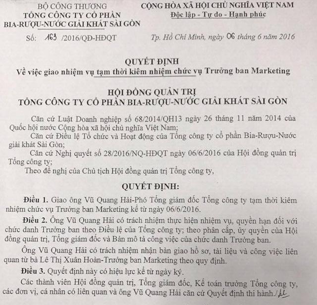 Ông Vũ Quang Hải được tạm kiêm nhiệm chức vụ Trưởng ban marketing từ 6/6/2016
