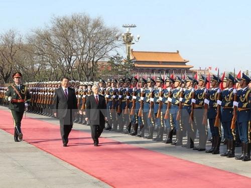 Tổng Bí thư Nguyễn Phú Trọng trong chuyến thăm hồi tháng 4/2015 theo lời mời của Chủ tịch Trung Quốc Tập Cận Bình.