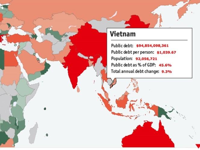 Đồng hồ đo nợ công thế giới báo nợ VN 94,85 tỉ USD