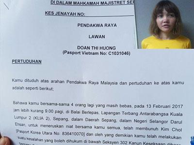 Đoàn Thị Hương bị buộc tội mưu sát vụ nghi án Kim Jong Nam
