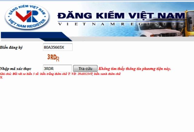 Không tìm thấy thông tin gì về chiếc xe Toyota mang biển 80A - 356.65 xuất hiện trên đường phố Ninh Bình ở trang Đăng kiểm Việt Nam.