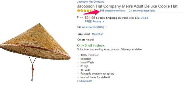 Một sản phẩm tương tự nón lá của công ty Jacobson nhận được tới 508 lượt đánh giá dù giá thành cao gấp vài lần thành phẩm của Việt Nam.