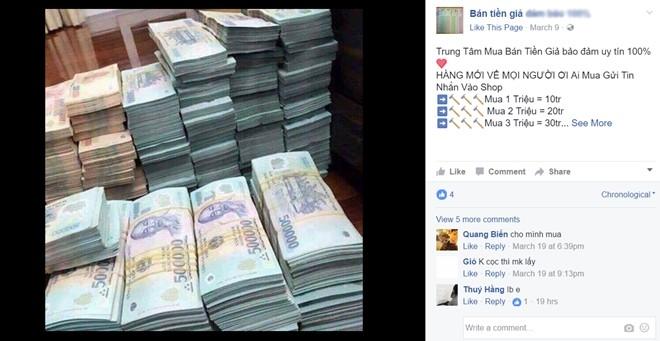 Ban tien gia cong khai tren Facebook hinh anh 1