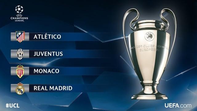 Bốn đội bóng lọt vào bán kết Champions League