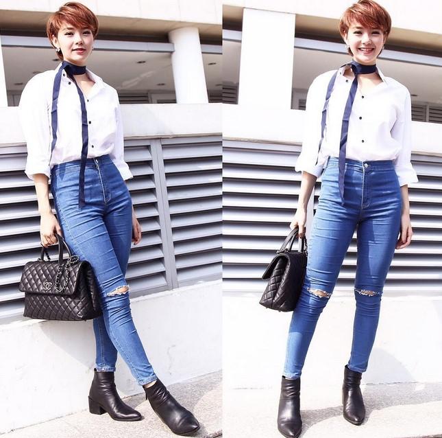 BST jeans rach giup Minh Hang an gian tuoi hinh anh 13
