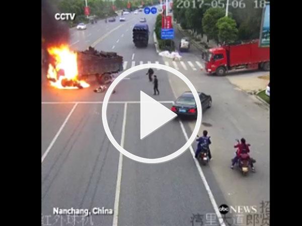 Video: Thót tim xem clip cứu người gặp nạn khi xe tải bốc cháy
