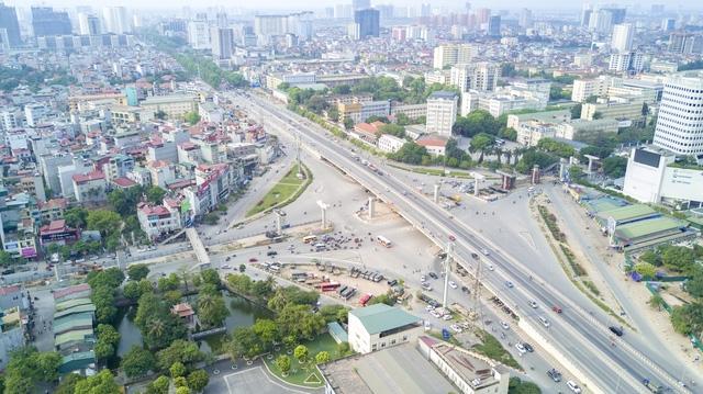 Ngã tư Cầu Giấy - Voi Phục khi hoàn thành dự án sẽ trở thành nút giao 3 tầng.