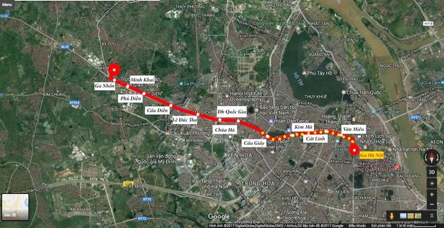 Toàn tuyến đường sắt đô thị Nhổn - Ga Hà Nội