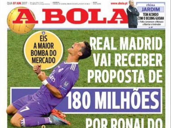 Cristiano Ronaldo được hỏi mua với giá 180 triệu euro