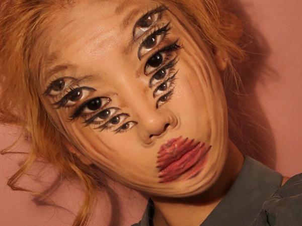 Không cần Photoshop, 9X tạo ảo giác bằng tranh 3D trên gương mặt